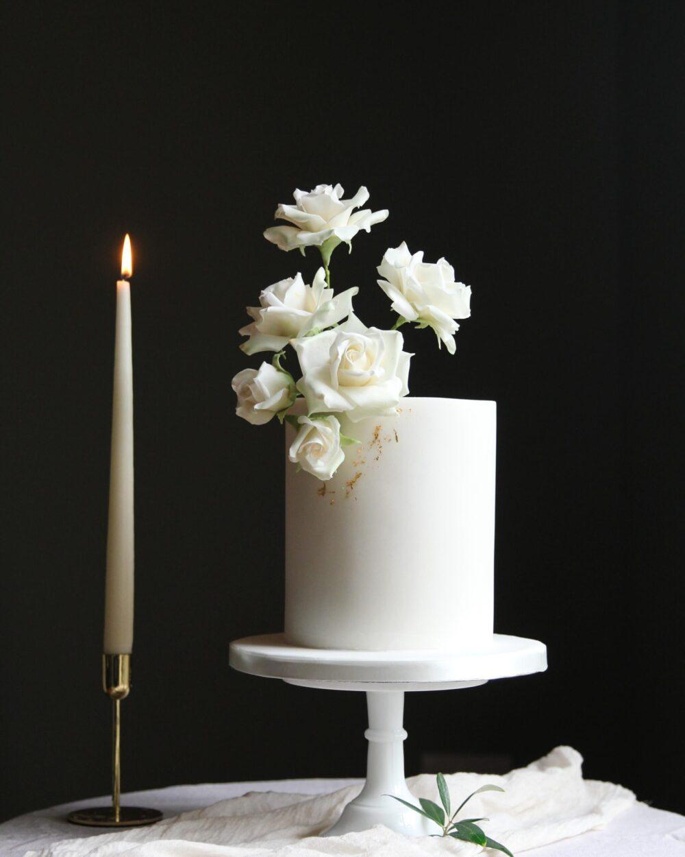 White Roses Wedding Cake Cove Cake Design