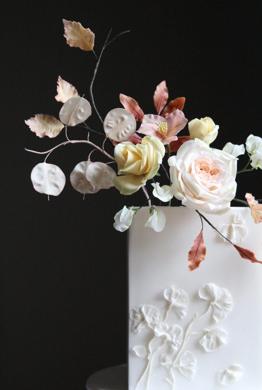 Autumn Flowers Texture Wedding Cake