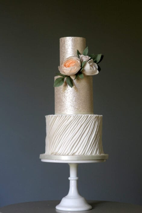 Shimmer and Roses Wedding Cake Cove Cake Design
