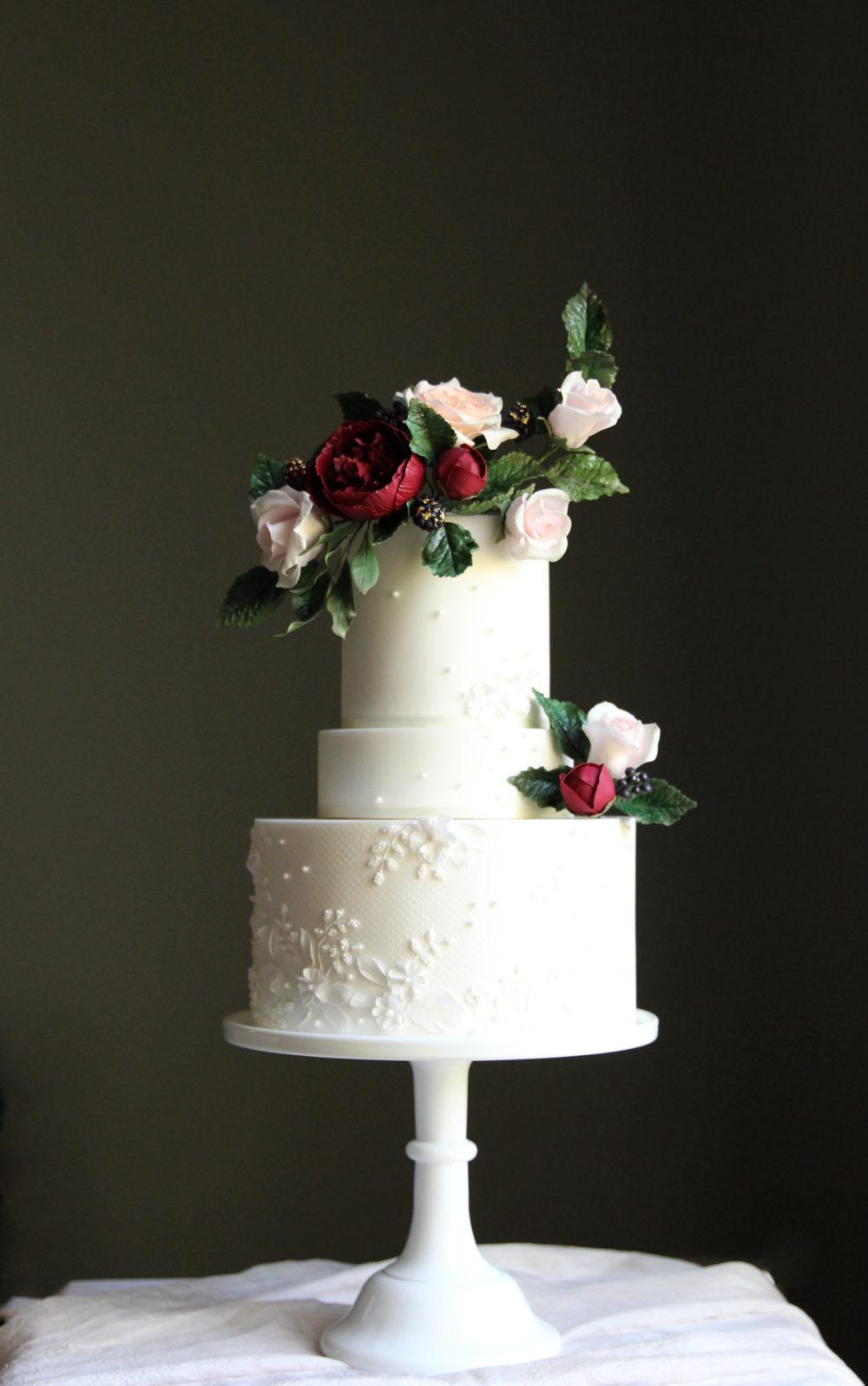 Lace Applique Wedding Cake Cove Cake Design