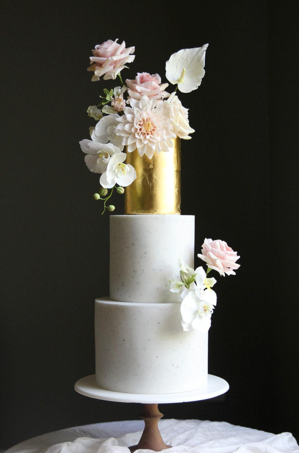 Golden Sugarflowers Wedding Cake Cove Cake Design