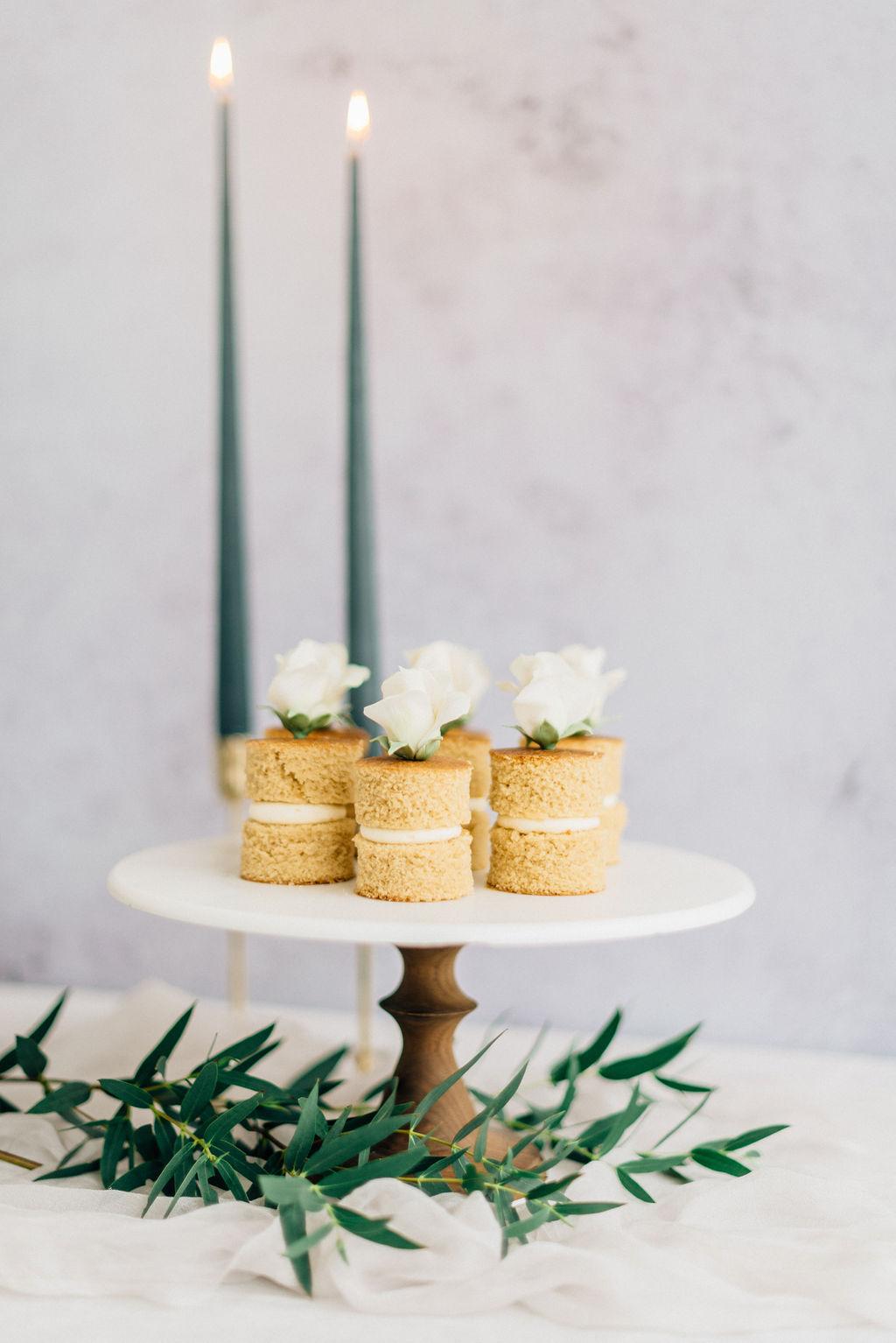Wedding mini white mocha cakes Cove Cake Design