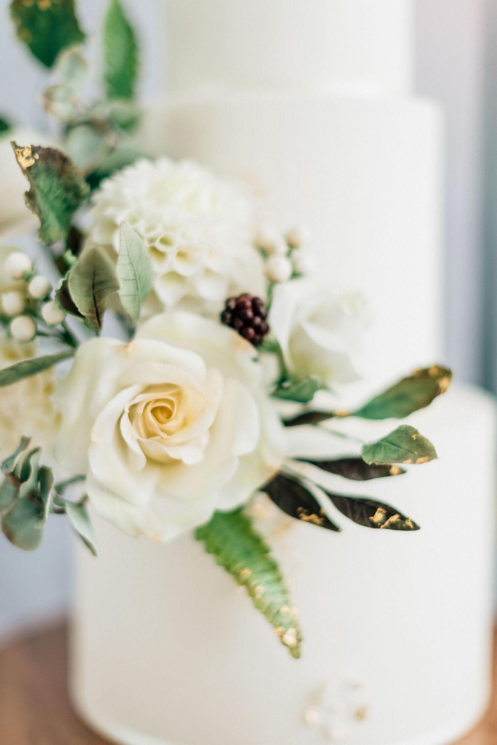 White sugar flowers Cove Cake Design