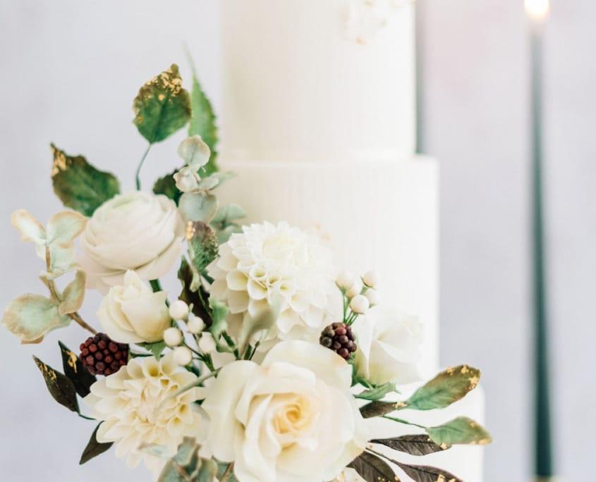 White and green sugar flowers Cove Cake Design