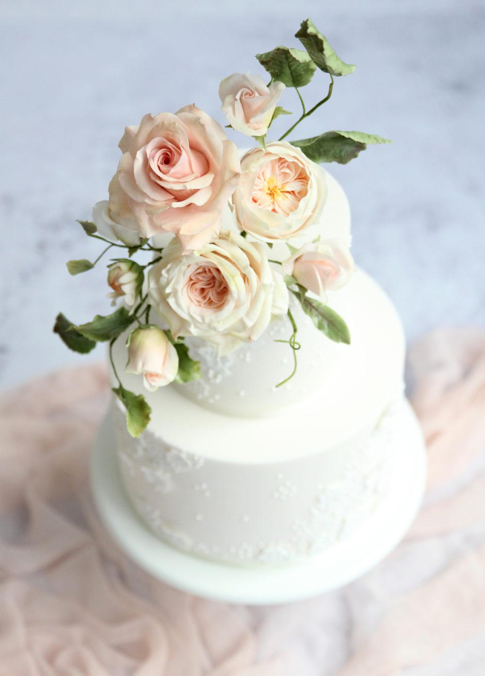 Blush Sugar Flowers Cake Cove Cake Design