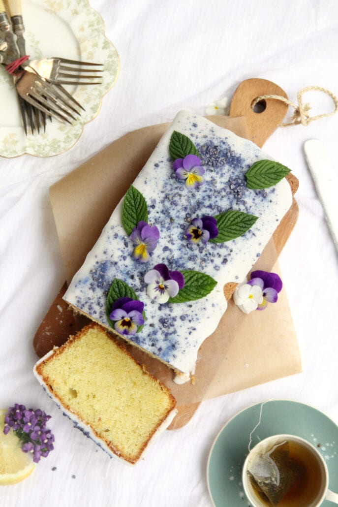 Lemon Curd and Violet Loaf Cake Recipe Cove Cake Design