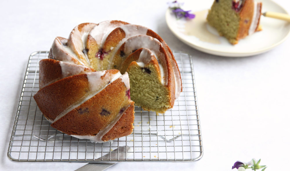 Lime Basil Blackberry Bundt Cake