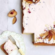 Almond Sheet Cake with Plum and Sweet Geranium Cove Cake Design