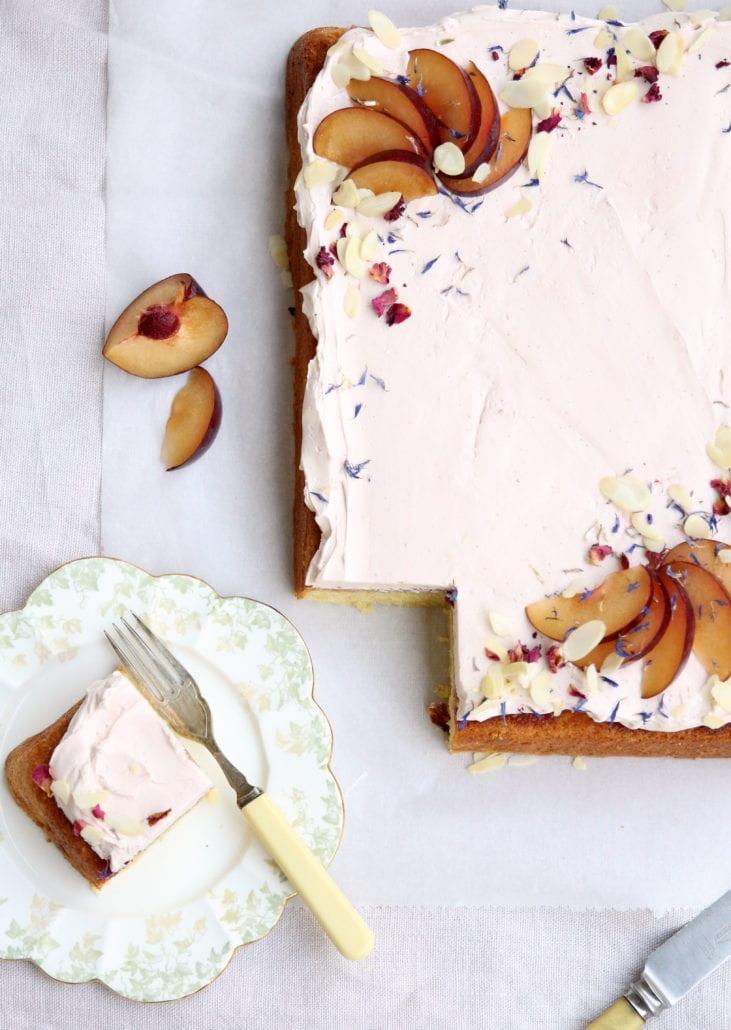 Almond Sheet Cake with Plum and Sweet Geranium Cove Cake Design