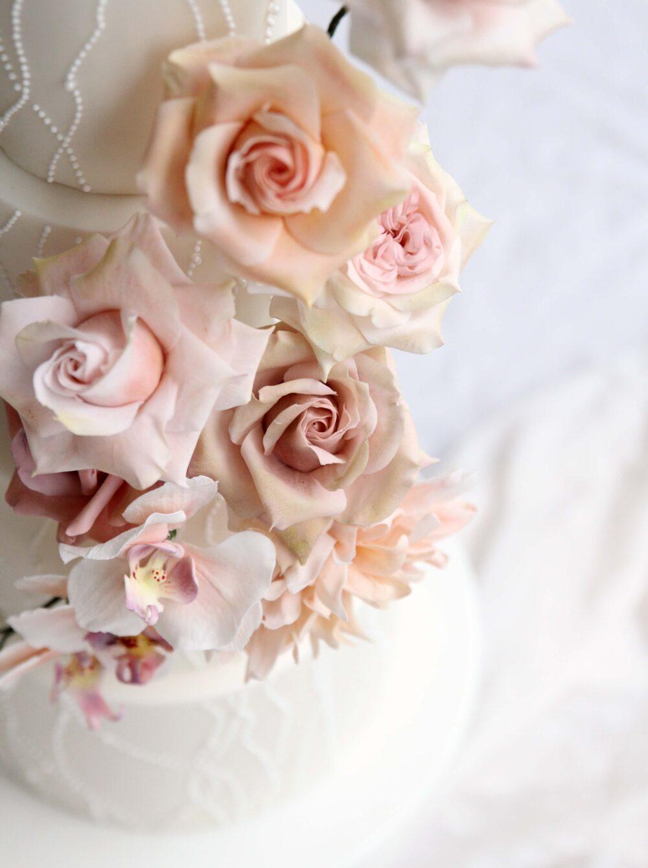 Sugar flowers beaded wedding cake Cove Cake Design
