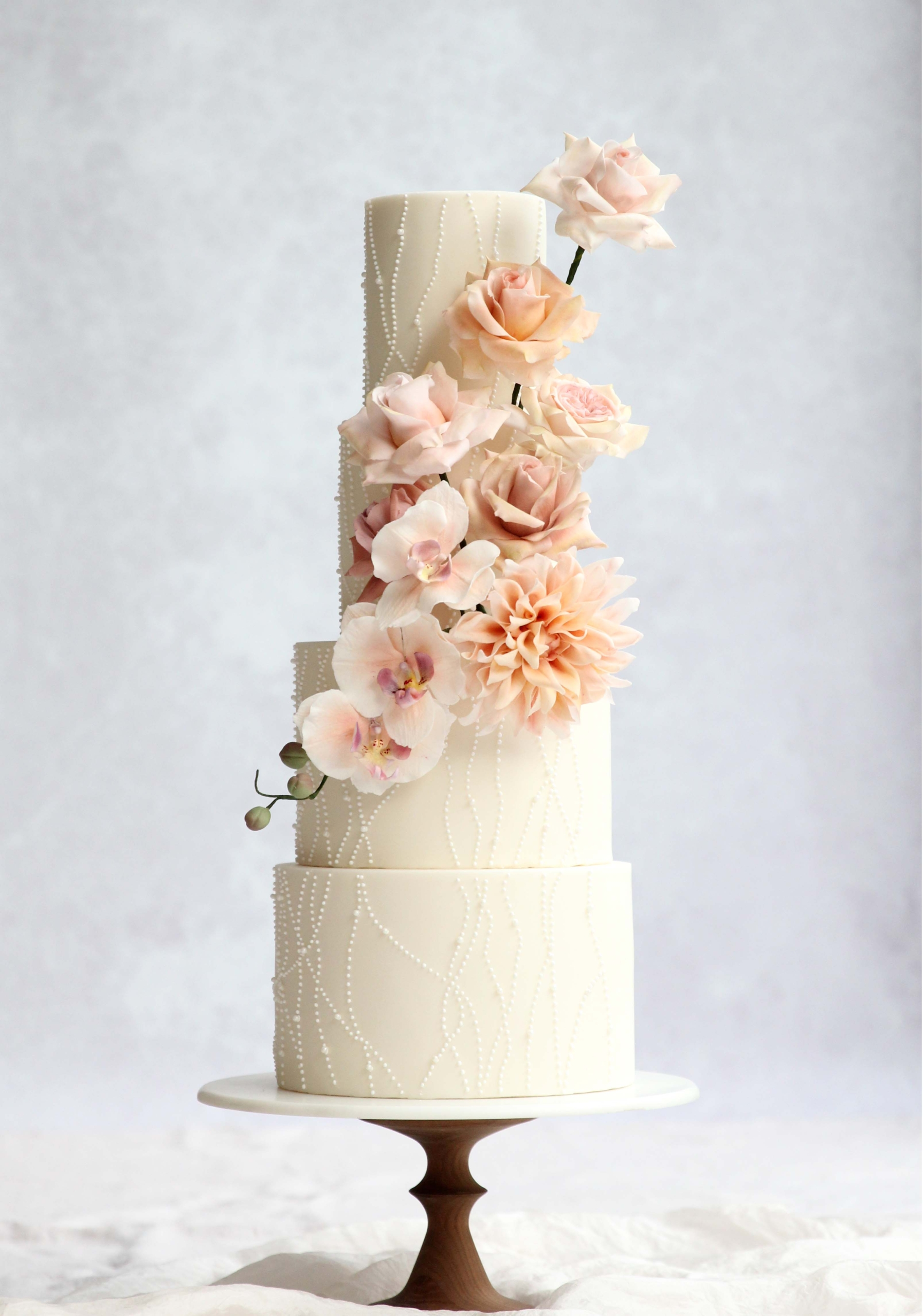 Beaded wedding cake Cove Cake Design