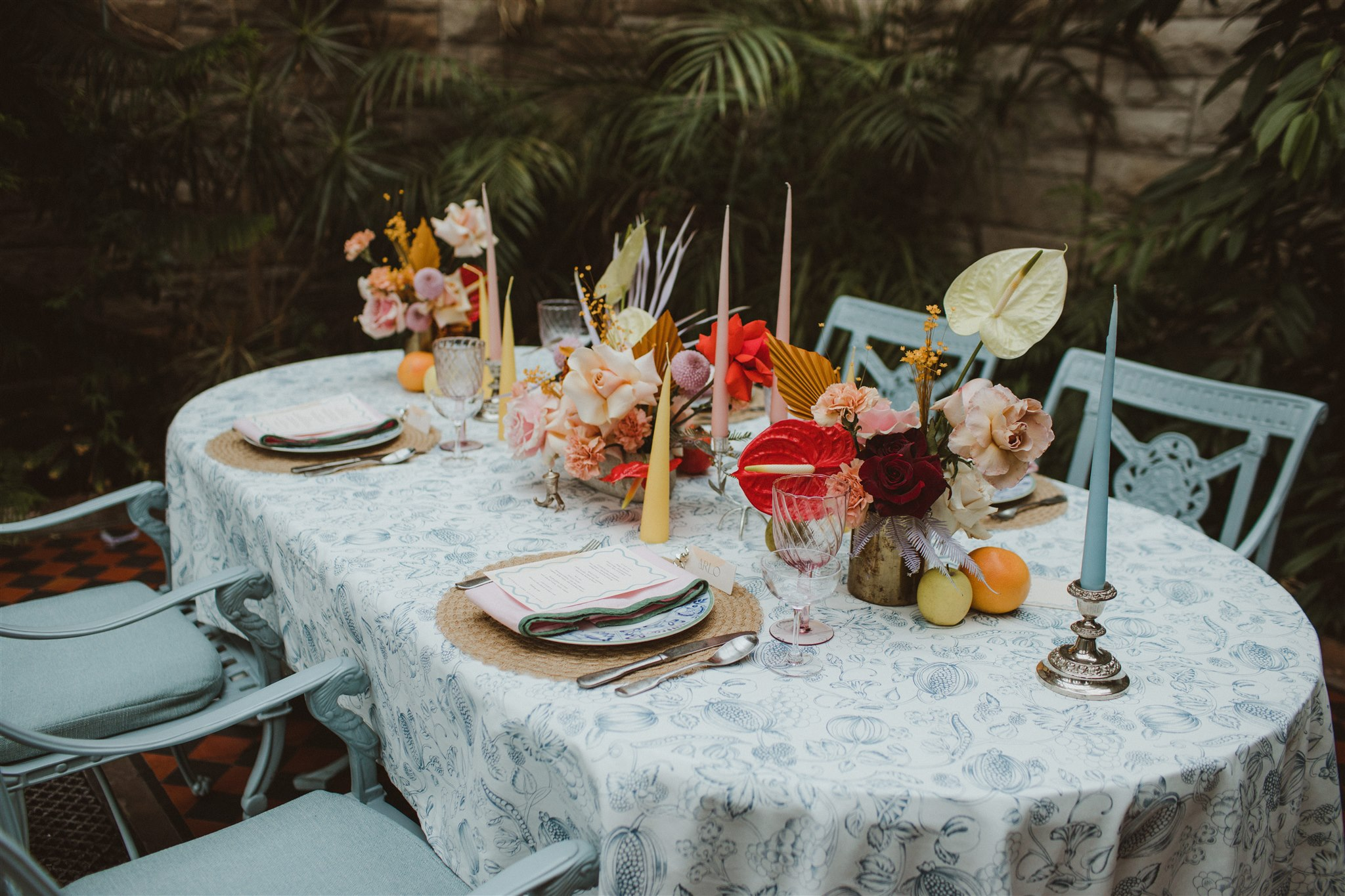 Eclectic wedding setting