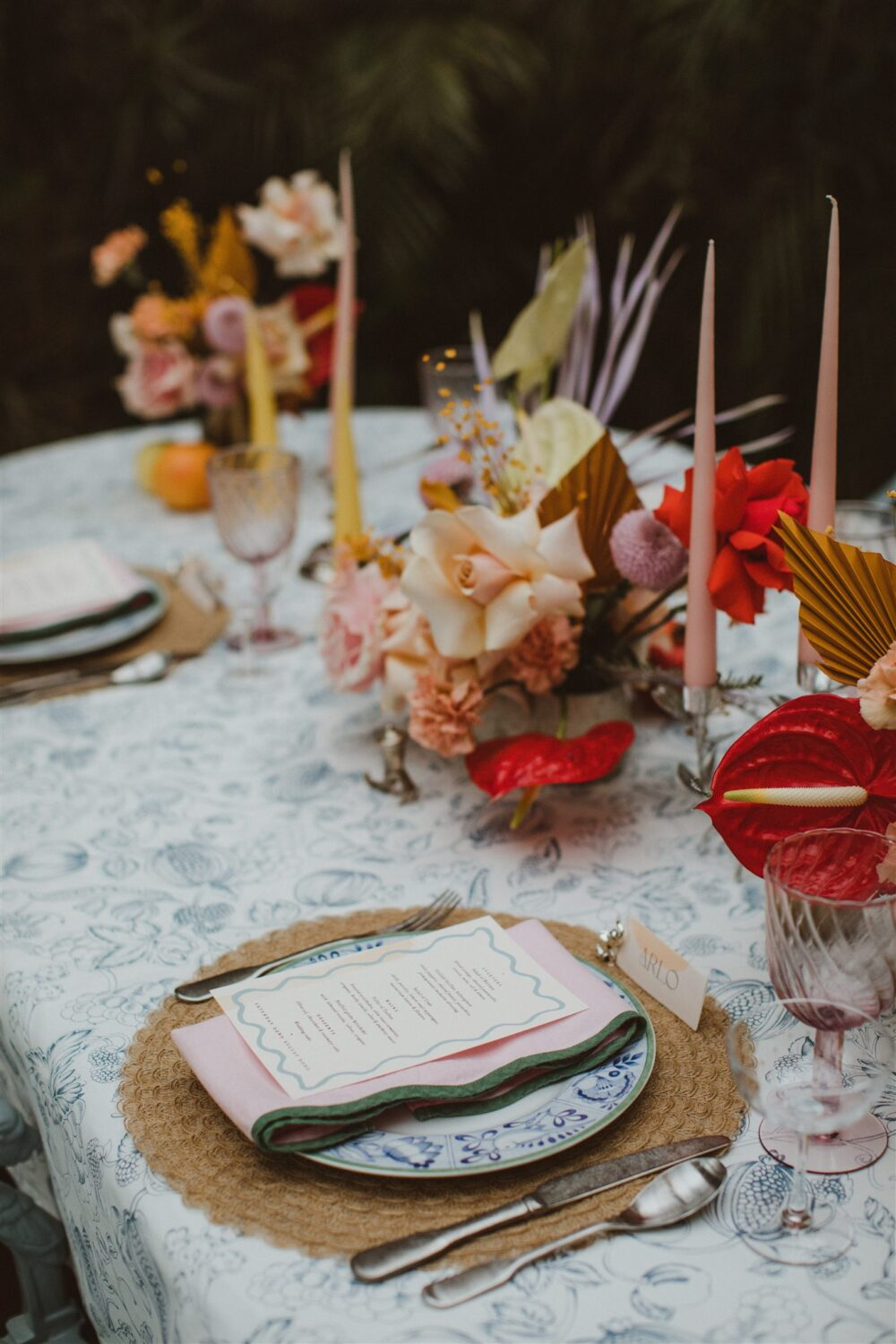Eclectic wedding place setting