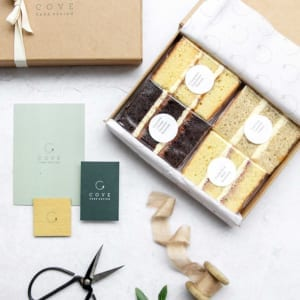postal cake tasting box Cove Cake Design