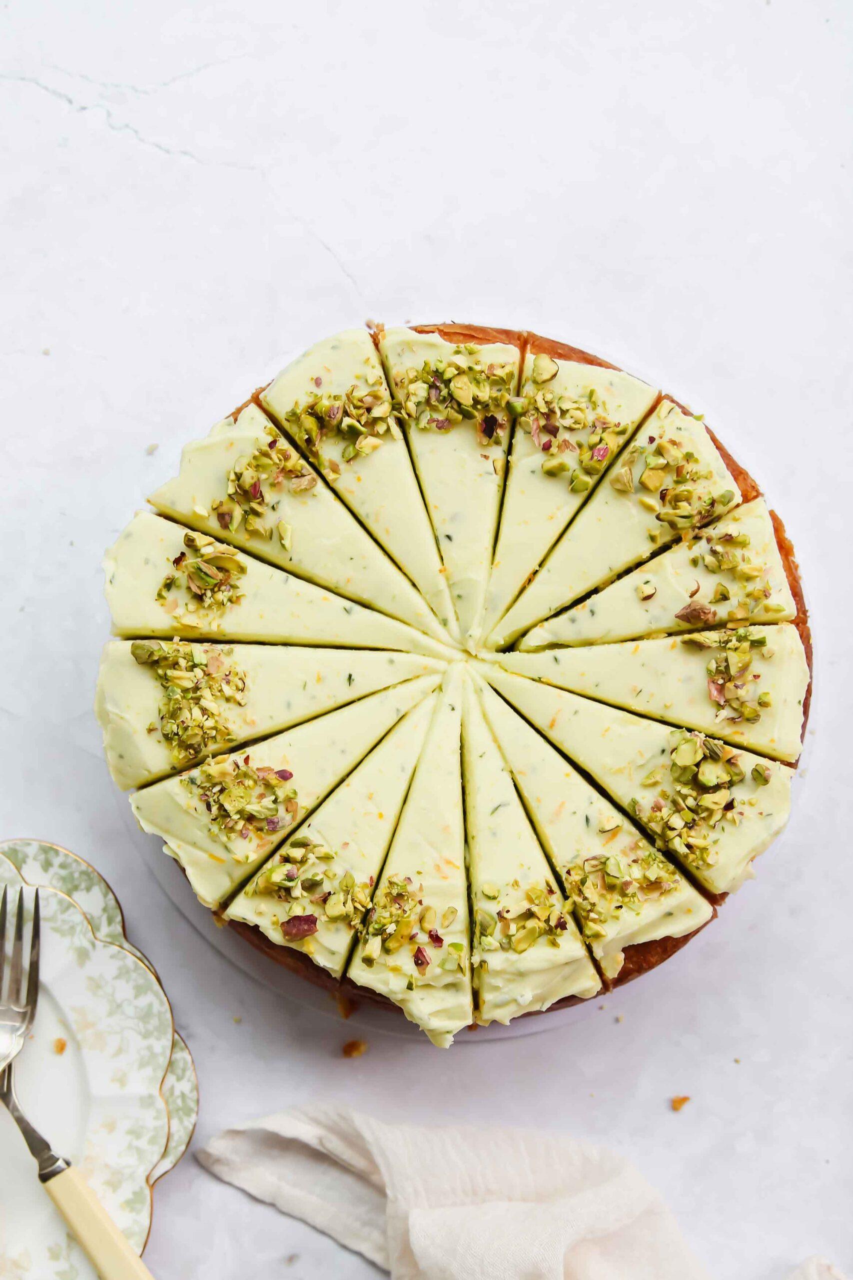Orange Almond Cake with Basil Icing