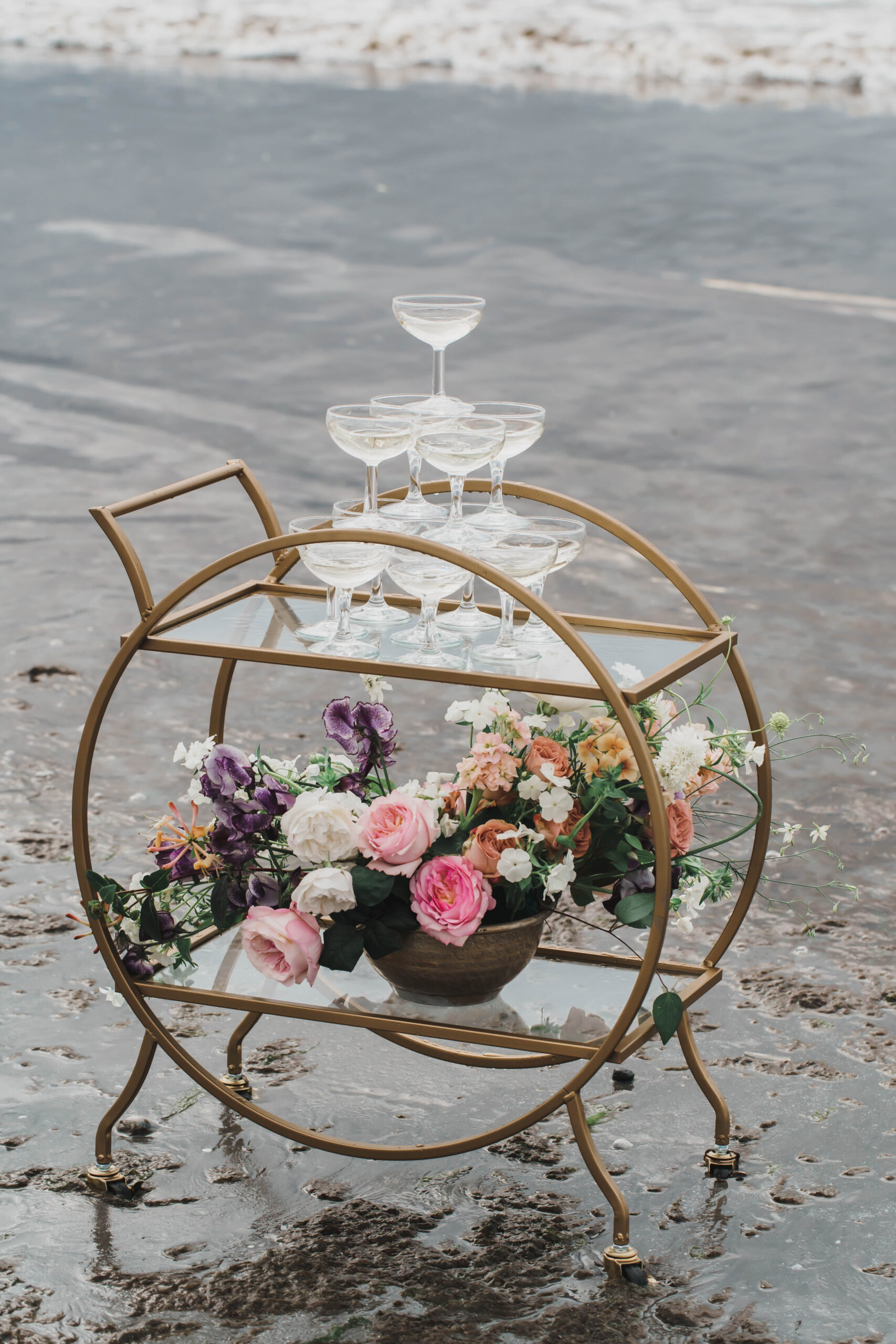 Beach wedding drinks trolley