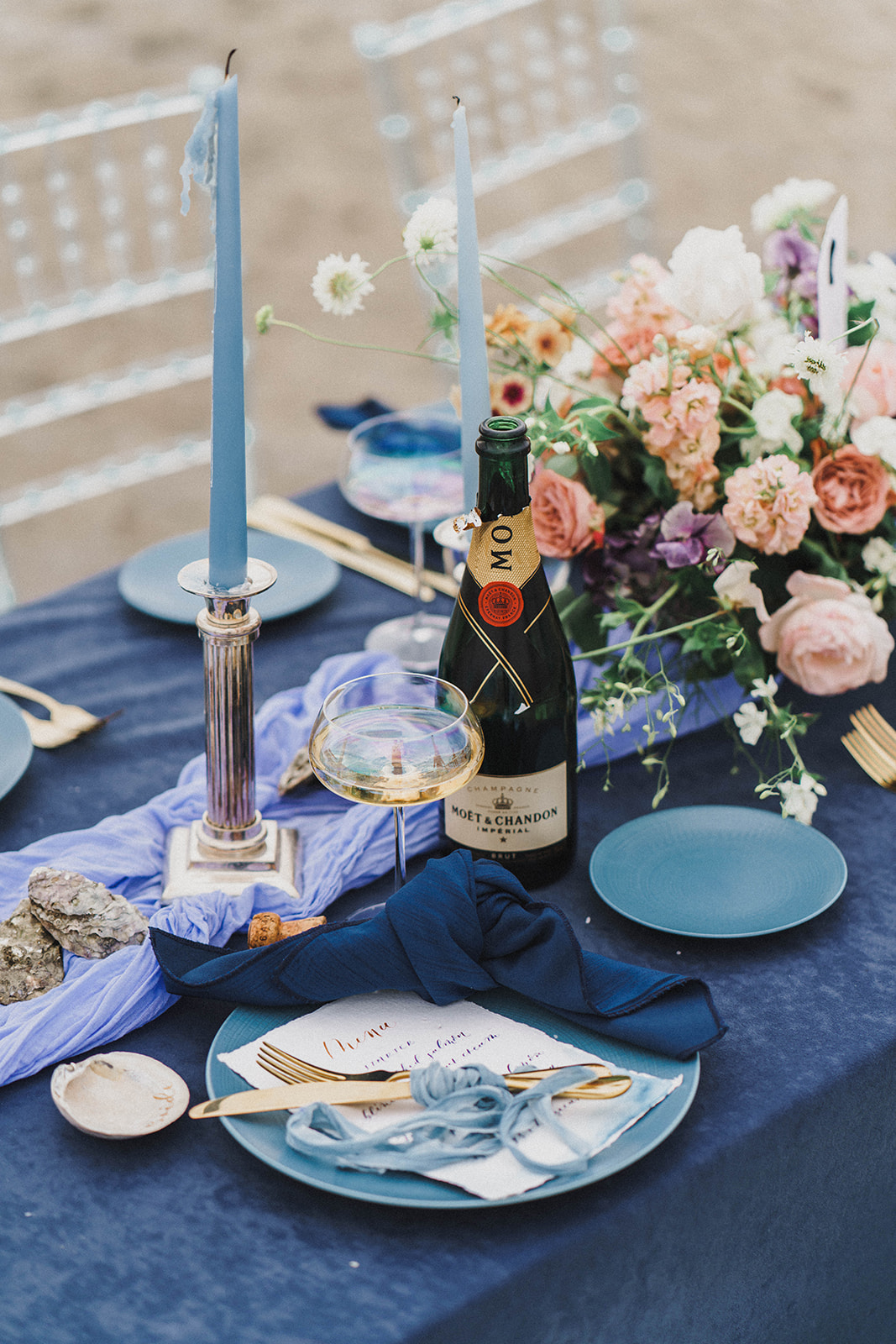 Blue palette wedding tablescape