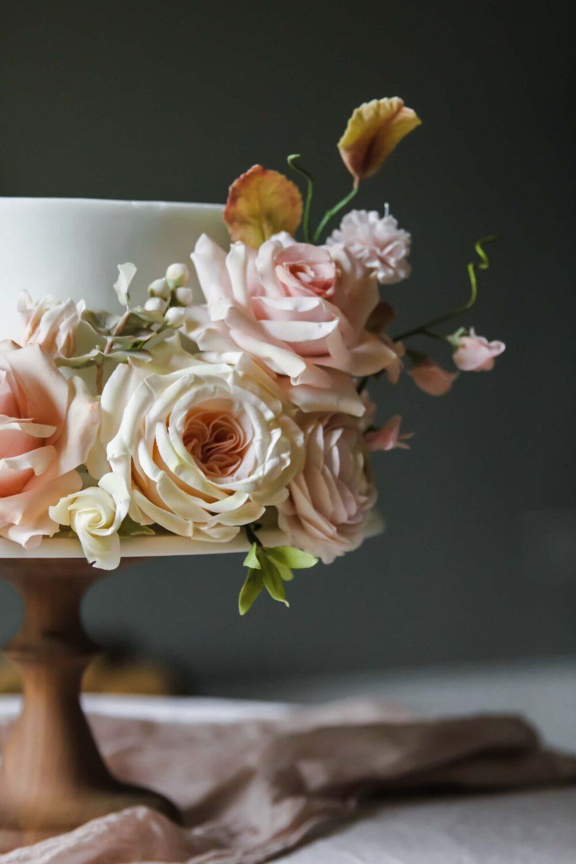 Wedding cake sugar flowers Cove Cake Design