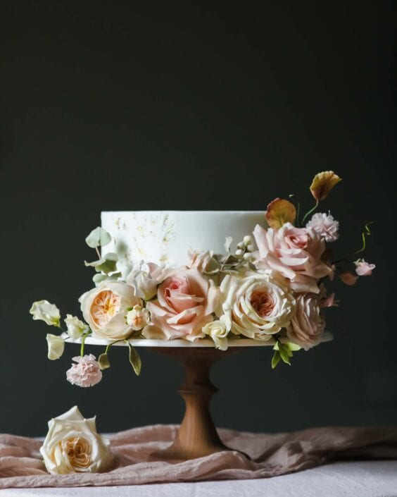 Sugar flower wedding cake Cove Cake Design