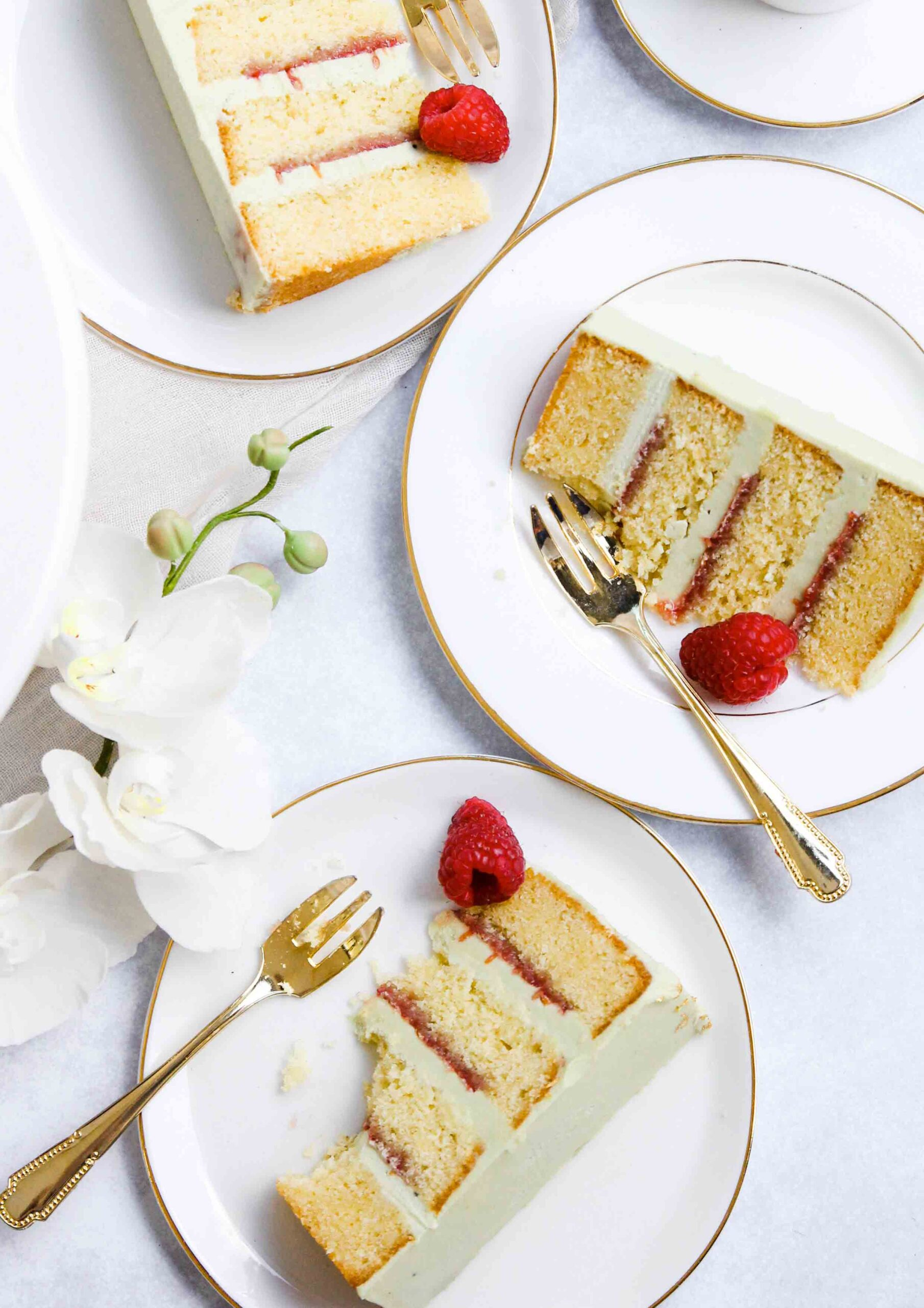Almond Matcha Raspberry Cake