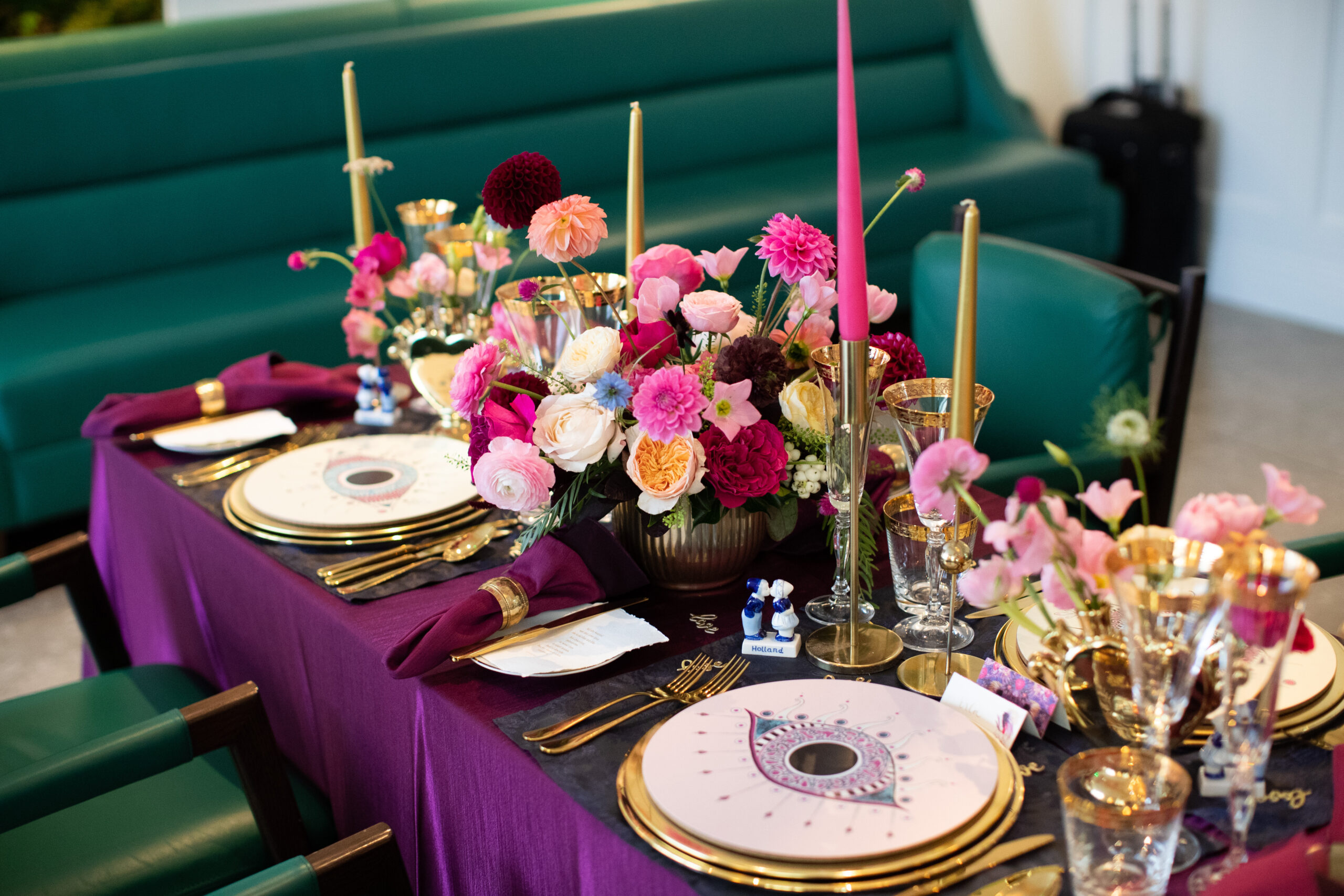 Vibrant wedding place setting