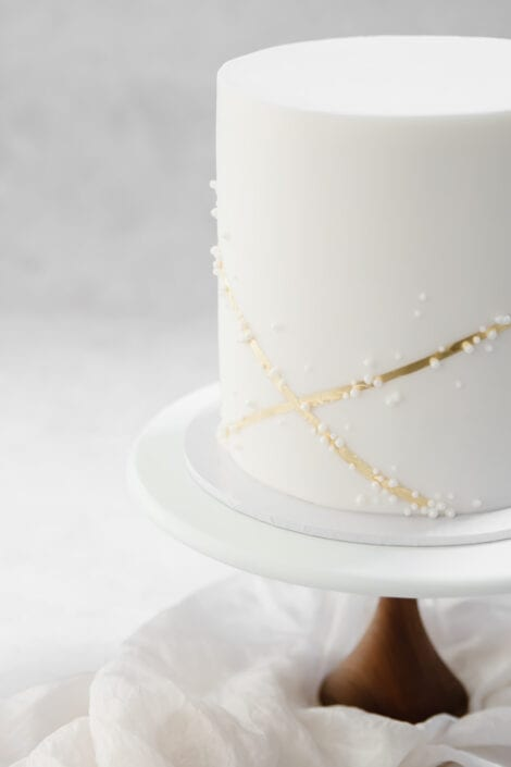 Gold and Pearl Wedding Cake Cove Cake Design