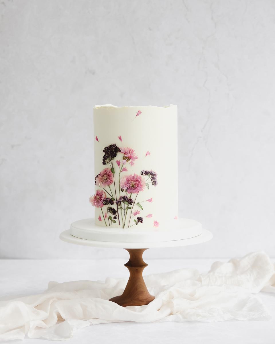 Pressed Flower Wedding Cake