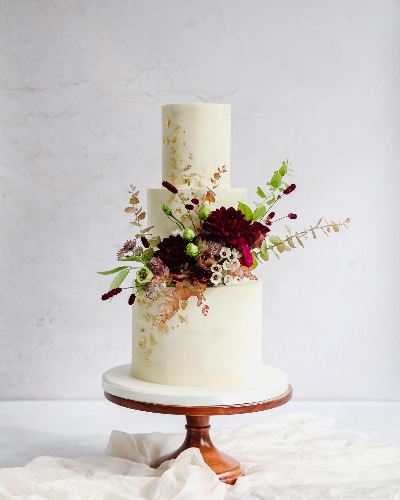 Autumn floral wedding cake